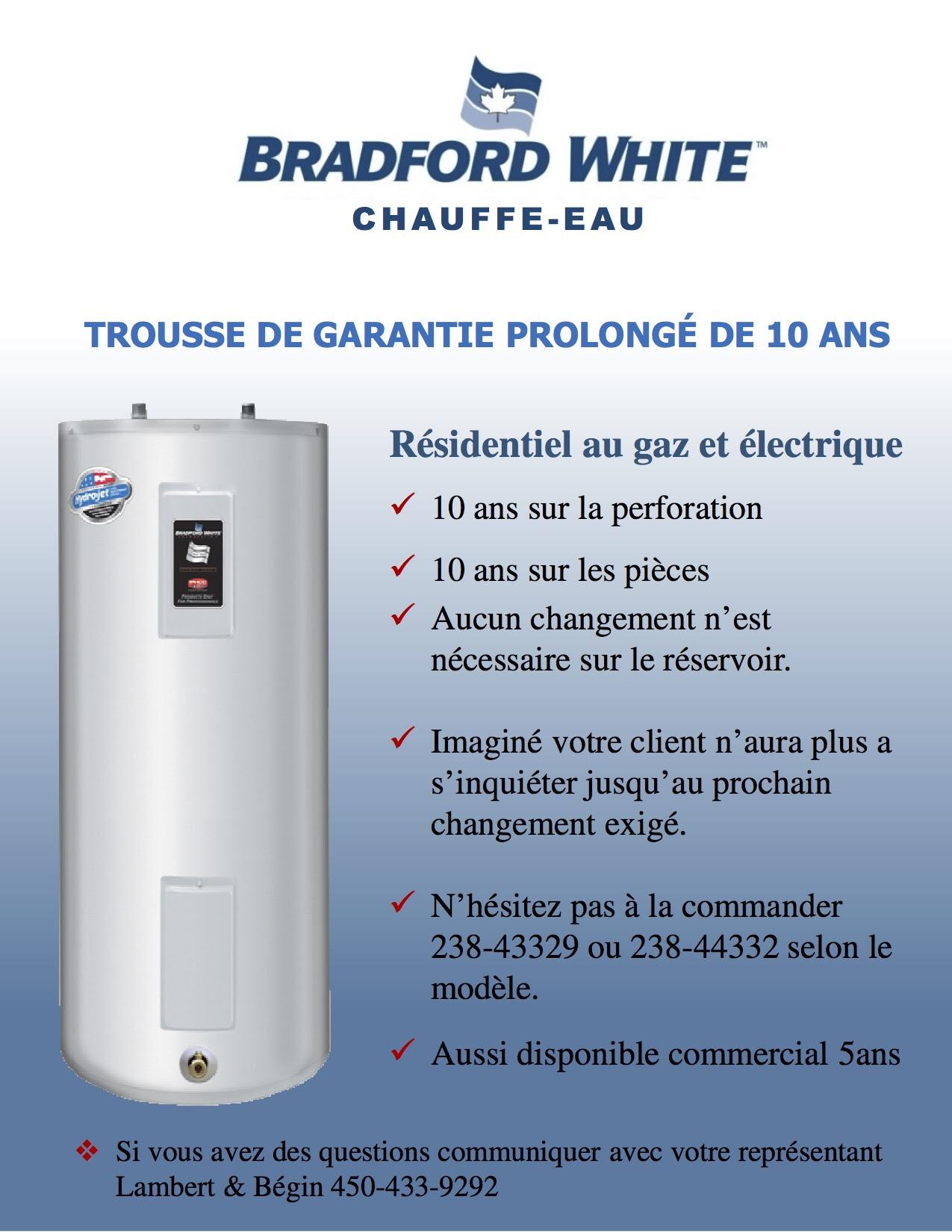 Bradford White chauffe eau - Plomberie Jeff Gagné